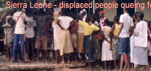 sierra.leone.conflict. Displaced queing for food
