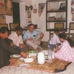 fioh.fund.pakistan.participatory.village.development.programme. Poverty alleviation in the Thar Desert. Eddie Thomas with Dominic Stephen and PVDP staff 2005