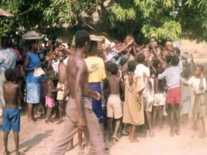 sierra.leone.post.war.reconstruction. Aid being distributed to displaced people at Mile 91 - 1996