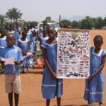 cameroon.shumas.school.environmental.education.programme. Children showing poster of wild animals
