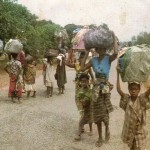 fioh.fund.sierra.leone.post.war.reconstruction. Displaced people from Makeni fleeing rebels 1999