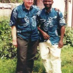fioh.fund.sierra.leone.post.war.reconstruction. Mike Thomas and Eddie Kargbo at Mamyoko Heliport 2000