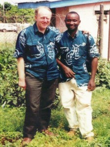 Mike Thomas and Edward Kargbo at Mamyoko heliport