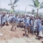 cameroon.shumas.school.environmental.education.programme. Sticks being gathered for fencing