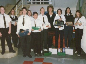 fioh.fund.sierra.leone.post.war.reconstruction. Swindon school collecting shoe boxes of aid 1996
